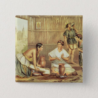Indians Preparing Tortillas Pinback Button
