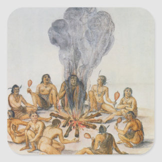 Indians round a Fire Square Sticker