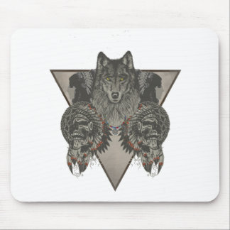 Indians Skull and Wolf Design Mouse Pad