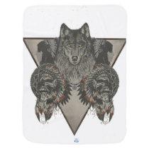 Indians Skull and Wolf Design Stroller Blanket