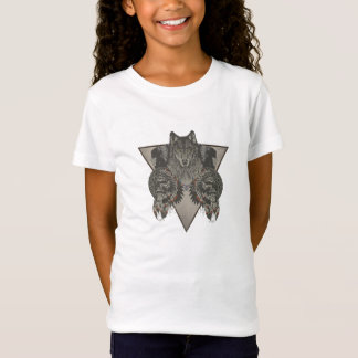 Indians Skull and Wolf Design T-Shirt