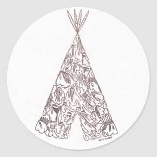 INDIANS - TEPEE - made of little native Americans Classic Round Sticker