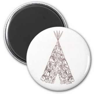 INDIANS - TEPEE - made of little native Americans Magnet