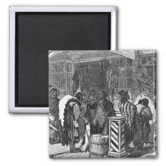 Indians Trading at a Frontier Town 2 Inch Square Magnet