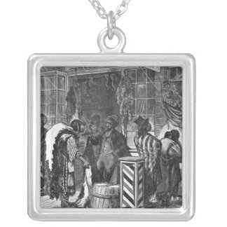 Indians Trading at a Frontier Town Silver Plated Necklace