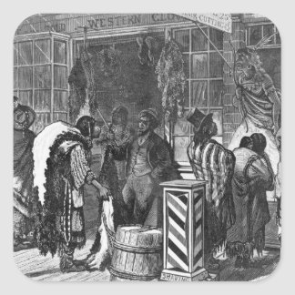 Indians Trading at a Frontier Town Square Sticker