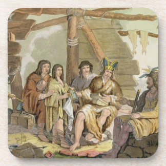 Indians trading with La Perouse in Canada (colour Beverage Coaster