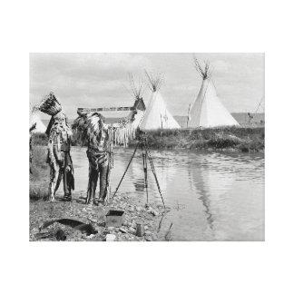 Indians Viewing Photo Negatives, 1913 Canvas Print