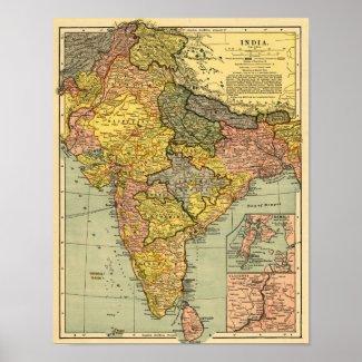 IndiaPanoramic MapIndia Posters