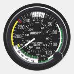 Indicador de indicador de velocidad aérea de los a etiqueta redonda