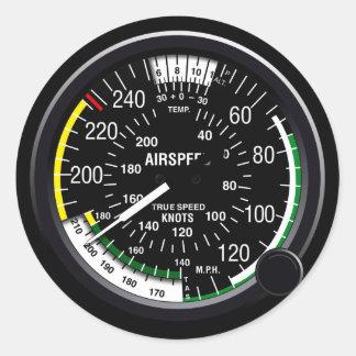 Indicador de indicador de velocidad aérea de los etiqueta redonda