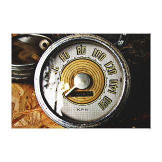 Indicador de la velocidad del automóvil del vintag impresión en lona estirada