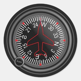 Indicador del título de los aviones pegatinas redondas