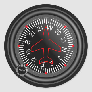 Indicador del título de los aviones pegatina redonda