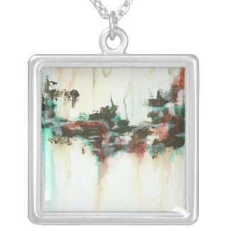 Indication from Painting Square Pendant Necklace necklace