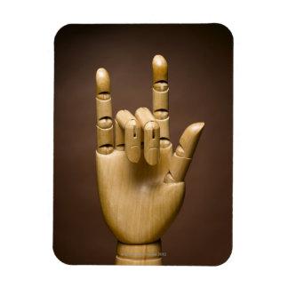 Índice de madera de la mano y pequeño dedo ampliad imanes de vinilo