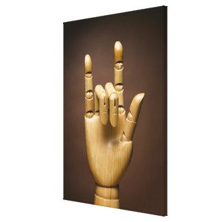 Índice de madera de la mano y pequeño dedo ampliad impresion de lienzo
