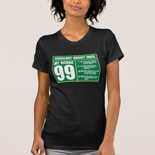 Índice del adicto a la genealogía camiseta