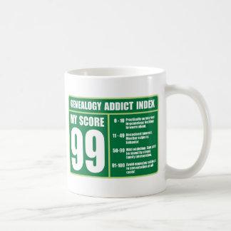 Índice del adicto a la genealogía taza de café