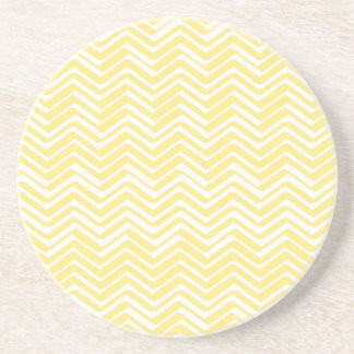 Indie Chevron Gold and White Pattern Sandstone Coaster