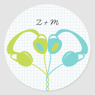 Indie Headphone Heart Blue / Lime Green Wedding Classic Round Sticker