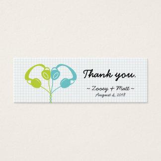 Indie Headphone Heart Blue / Lime Green Wedding Mini Business Card