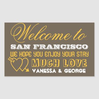 Indie hearts brown type out of town gift bag favor rectangular sticker