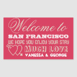 Indie hearts red type out of town gift bag favor rectangular sticker