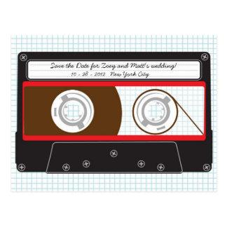 Indie Mixtape (Black/Red) Save the Date Postcard