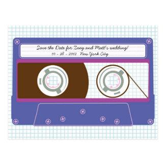 Indie Mixtape (Indigo/Purple) Save the Date Postcard