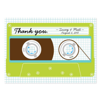 Indie Mixtape (Lime / Sky) Wedding Favor Tags Large Business Cards (Pack Of 100)