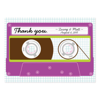 Indie Mixtape (Purple / Lime) Wedding Favor Tags Business Card