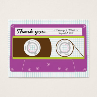 Indie Mixtape (Purple / Lime) Wedding Favor Tags Large Business Card