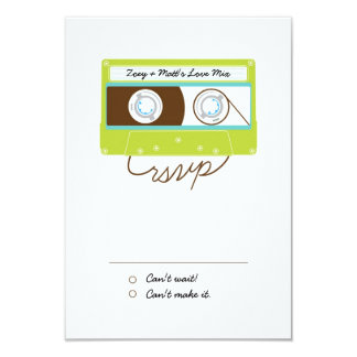 Indie Mixtapes (Lime / Sky) RSVP 3.5x5 Paper Invitation Card