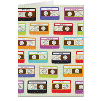 Indie Mixtapes Retro 80s Cassette Tape Pattern Card