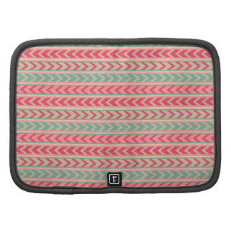 Indie Red Green Abstract Arrows Geometric Pattern Folio Planners