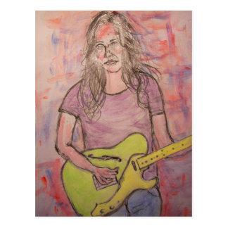 Indie rock girl postcard