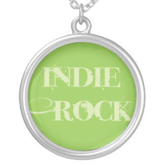 Indie Rock Text on Green Round Pendant Necklace