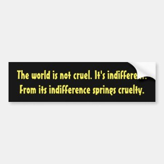 Indifference and cruelty bumper sticker