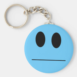 Indifferent Blue Smiley Key Chain