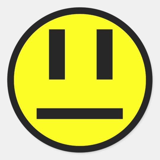 Indifferent Face Classic Round Sticker Zazzle Com