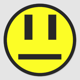 Indifferent face classic round sticker