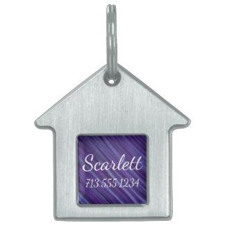 Indifferent Purple Lavender Violet Stripe Dog/Cat Pet Name Tag