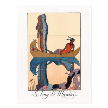 USA Themed indigenous couple in a canoe postcard