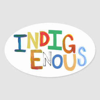 Indigenous native people culture fun colorful art oval sticker