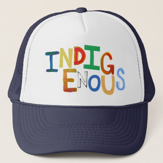 Indigenous native people culture fun colorful art trucker hat