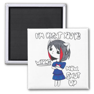 Indignant Anime Cat Girl 2 Inch Square Magnet