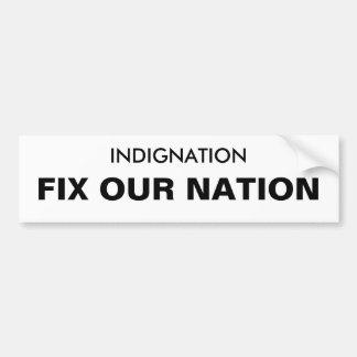 INDIGNATION FIX OUR NATION BUMPER STICKER