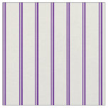 [ Thumbnail: Indigo and Beige Colored Stripes Pattern Fabric ]