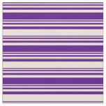 [ Thumbnail: Indigo and Bisque Striped Pattern Fabric ]